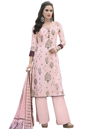 Stylee Lifestyle Pink Satin Printed Dress Material - MANERAA