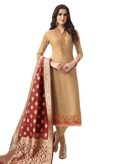 Stylee Lifestyle Beige Satin Embroidered Dress Material - MANERAA