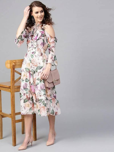 Women's Floral Printed Chiffon Dress - MANERAA