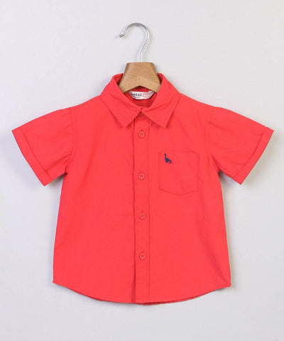 Beebay Red Shirt with Dino Pocket Embroidery - MANERAA