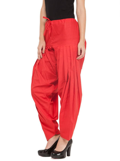 Red Cotton Solid Patiala - MANERAA