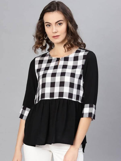 Women's Monocromatic Check Printed Top - MANERAA