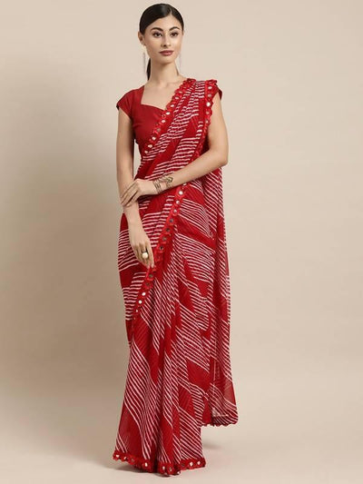 Red & White Leheriya Poly Georgette Saree With Mirror Work Lace - MANERAA