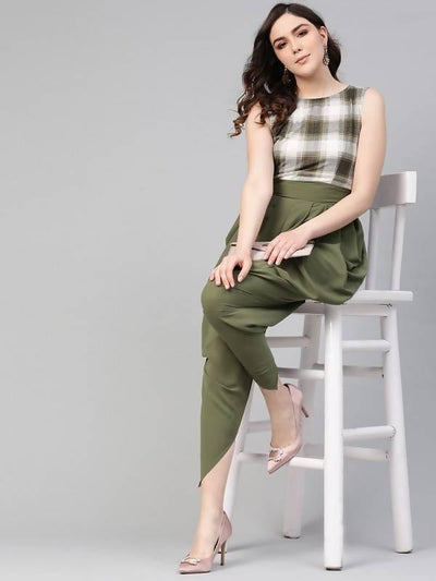 Women's Checkered Cowl Jumpsuit - MANERAA