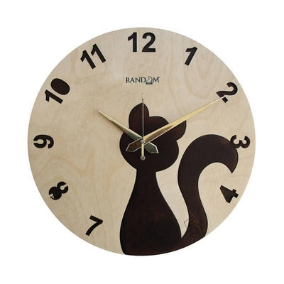 Pussy cat (11.5 Inches) Wooden Wall Clock - MANERAA