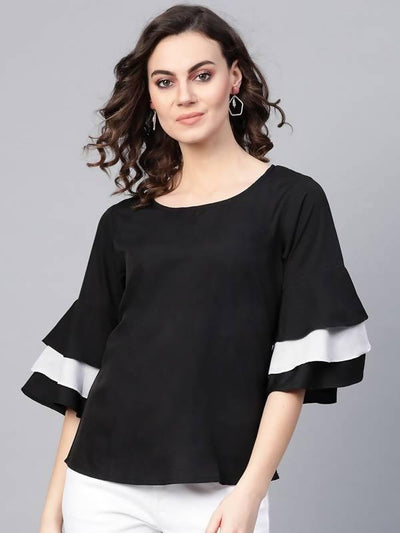 Women's Solid Monocromatic Flare Sleeve Top - MANERAA