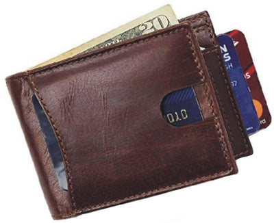 Men Brown Pure Leather RFID Wallet 5 Card Slot 1 Note Compartment - MANERAA