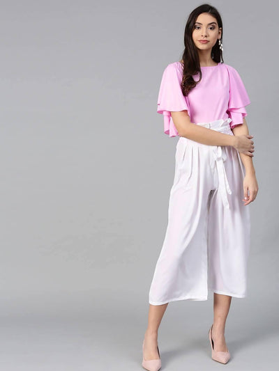 Bitterlime Women Pink Flared Ruffle Top & Trouser Set - MANERAA