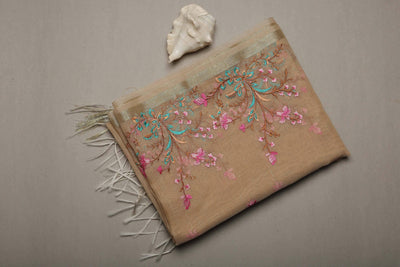 Pale Peach Cotton Linen Silk Dupatta with Heavy Embroidery - MANERAA