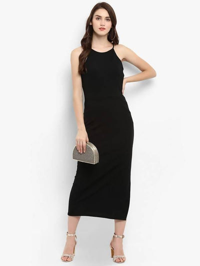 Women's Solid Incut Fitted Midi Dress - MANERAA