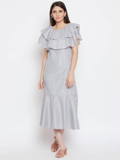 Women Stripe A Line Dress - MANERAA