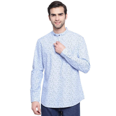 Kukui Blossom Blue Colour Based Printed Casual Shirt (Size:38) - MANERAA
