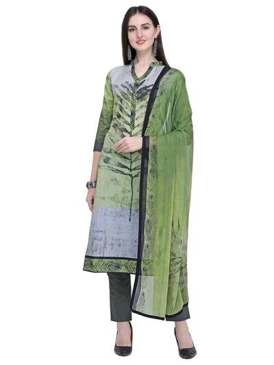 Stylee Lifestyle Green Cotton Printed Dress Material - MANERAA