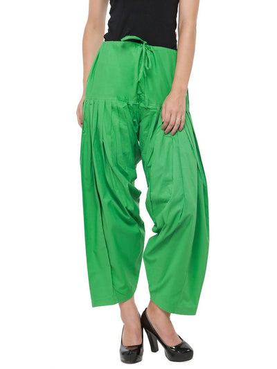Green Cotton Solid Patiala - MANERAA