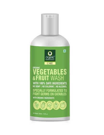 Organic Harvest Vegetables & Fruits Wash, 100% Safe Ingredients, No Soap, No Chlorine, No Alcohol, with Organic Ingredients, Specially formulated to fight Germs on Eatables, 500ml - MANERAA