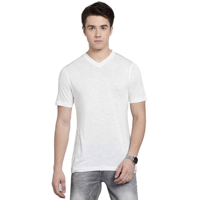 White Colour V-neck Half Slevee T-shirts - MANERAA