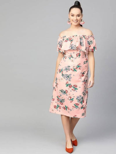 Women's Floral Off-Shoulder Midi Dress - MANERAA