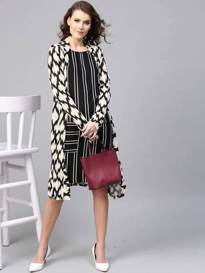 Women's Monocromatic Stripe Dress - MANERAA