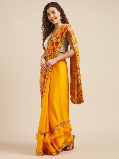 Mustard Floral Print Brasso & Solid Crepe Half Half Saree With Mirror Work Lace - MANERAA