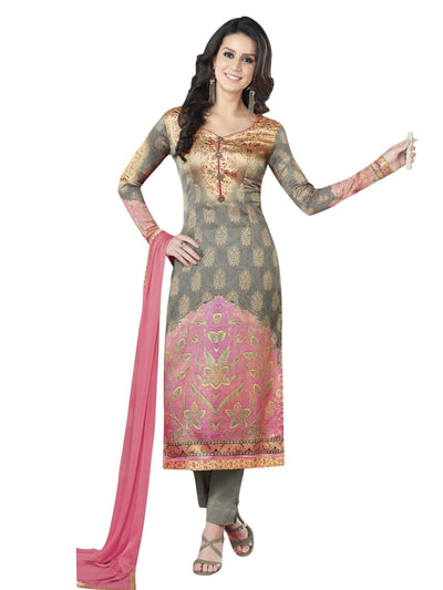 Stylee Lifestyle Grey Satin Printed Dress Material - MANERAA