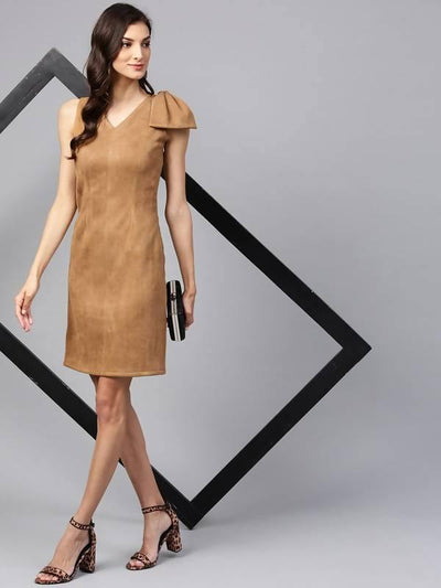 Women's Fitted Side Bow Suede Dress - MANERAA