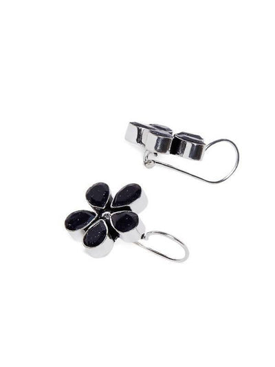 Alloy And Artificial Stones Drop Earrings Artificial Fashion Jewellery For Women Black Color - MANERAA