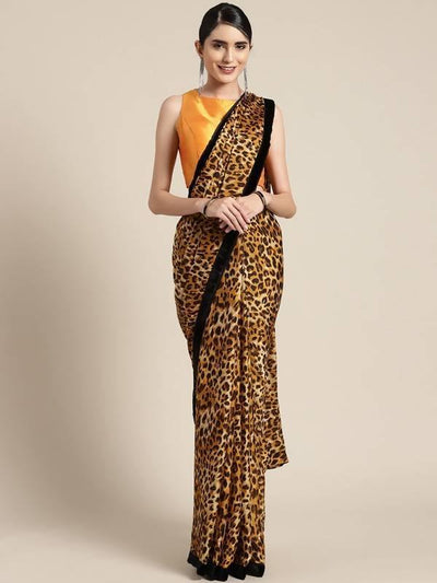 Beige & Brown Animal Print Crepe Saree - MANERAA