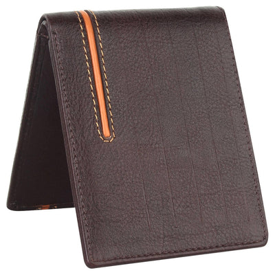Men Brown Original Leather RFID Wallet 6 Card Slot 2 Note Compartment - MANERAA