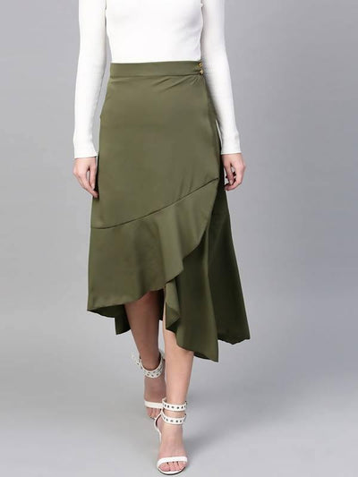 Women's Solid Asymmetric Wrap Skirt - MANERAA