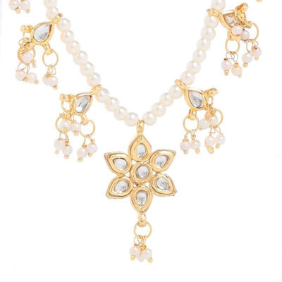 Kundan Necklace Artificial Fashion Jewellery For Women Gold Color - MANERAA