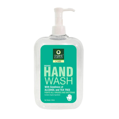 Organic Harvest Hand Wash with Goodness of Alcohol and Tea Tree, Contains Organic Ingredients, Specially formulated to fight Germs on Hands, 250ml - MANERAA
