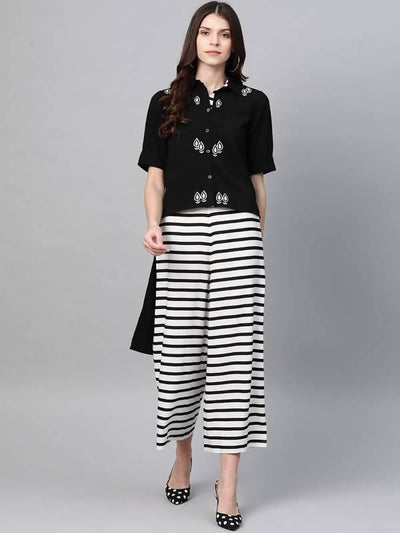 Women's Solid Embroidered Top With Stripe Pants - MANERAA