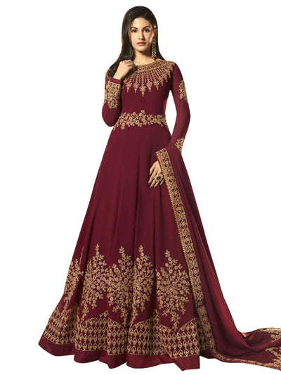 Stylee Lifestyle Maroon Georgette Embroidered Dress Material - MANERAA