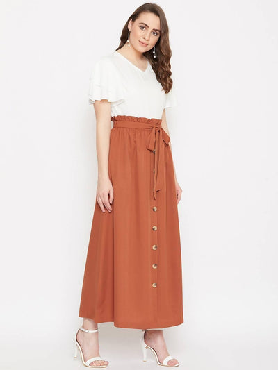 Women's V-neck Solid Top With Front Button Aline Skirt Set - MANERAA