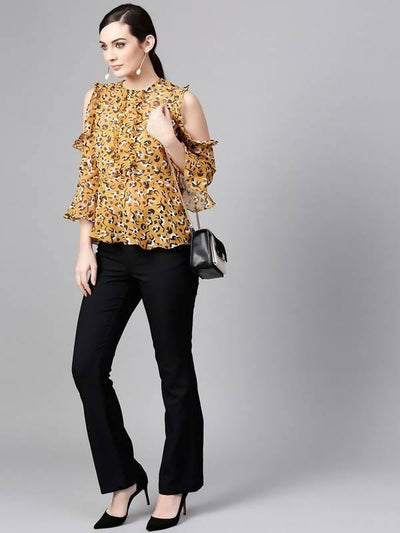 Women's Cat Print Ruffled Top - MANERAA