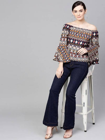 Women's Tribal Printed Off-Shoulder Top - MANERAA