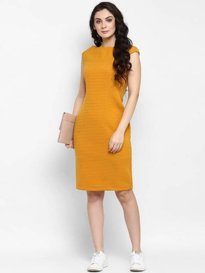 Women's Solid Self Striped Dress - MANERAA