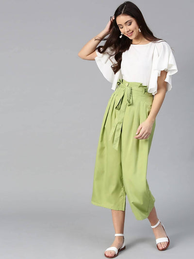 Bitterlime Women Off White Flared Ruffle Top & Trouser Set - MANERAA