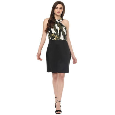 Women's Women's Twisted Military Print Dress - MANERAA
