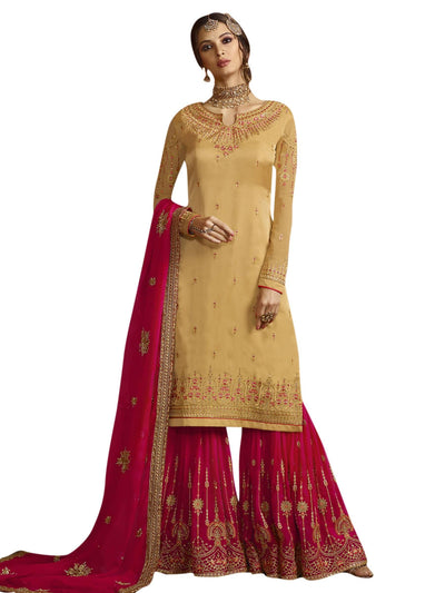 Stylee Lifestyle Yellow Satin Embroidered Dress Material - MANERAA
