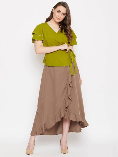 Women's Overlap Top With Ruffle Skirt Set - MANERAA