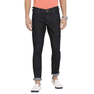 Black Colour Slim Fit Mid Rise Streatch Jeans - MANERAA