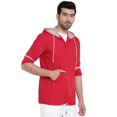 Men's Red Hooded Regular Fit Cotton Shirt (Size:38) - MANERAA