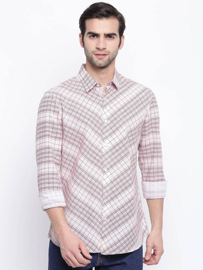 Rouille croisers Rust colour stripe printed casual full sleeve shirt (Size:38) - MANERAA
