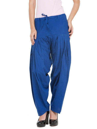 Royal Blue Cotton Solid Patiala - MANERAA
