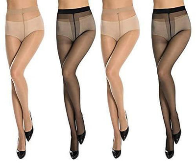 2 Pcs Skin color and 2 Pcs Black color Panty Hose - MANERAA