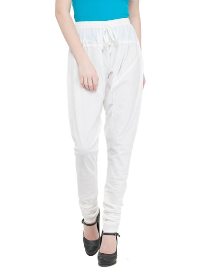 Women Cotton White Churidar - MANERAA