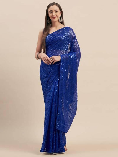 Blue Poly Georgette Sequinns Embroidered Saree - MANERAA