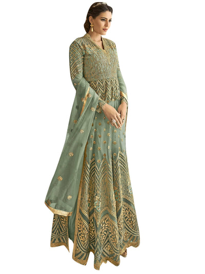 Stylee Lifestyle Teal Net Embroidered Dress Material - MANERAA
