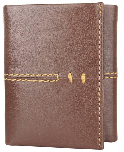 Men Brown Pure Leather RFID Wallet 9 Card Slot 2 Note Compartment - MANERAA